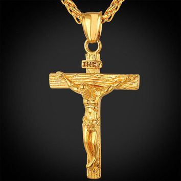Cross Stainless Steel Gold Plated Pendant & Necklace