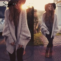 Bat-wing Knitted Women Sweater Tricot Oversized Cardigan