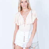 Ruffled Lace-Up Bodysuit