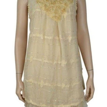 Pretty Angel Gypsy Cream Lace Tunic Floral Layered Top