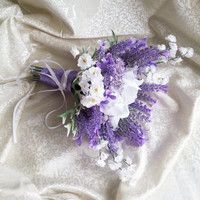 Lavender and white wedding bouquet fake flowers, magnolia, matthiola, purple, lilac, satin ribbon, custom bouquet, boutoniere