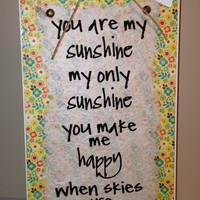 You Are My Sunshine - 6x12 Wall Decor - Boy or Girl's Room