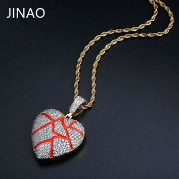 Red Broken Heart Pendant Necklace With 4mm Tennis Chain Gold Color Cubic Zircon Iced Out Chain Men's Women Hip Hop Jewelry Gifts