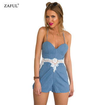 New Women Backless Playsuit Lace Hollow out Sleeveless Sexy Jumpsuit feminino Summer Style vestido Romper bodysuit roupas