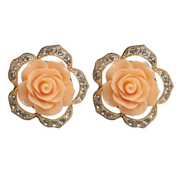 Rhinestone Flower Button Earring | Shop Jewelry at Wet Seal