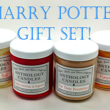 Harry Potter Gift Set - Harry Potter Candle 4 Pack, Gift for Harry Potter Lover, Book Candles, Movie Candles, Gift for Book Lover, HP Gift