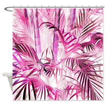 Pink Bamboo Shower Curtain> Tropical> Tropical Design Studio