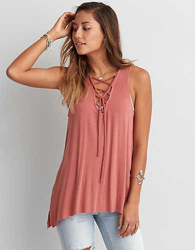 c939810237 AEO SOFT   SEXY LACE-UP JEGGING TANK from American Eagle