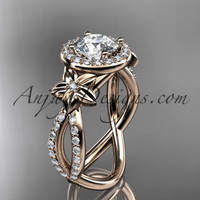 14k rose gold leaf and flower diamond unique engagement ring, wedding ring ADLR374