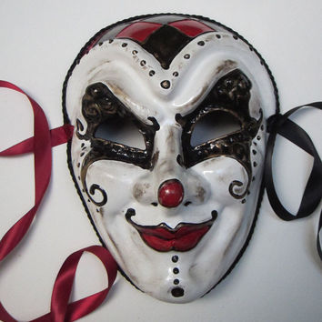 Tears of a Clown Joker Mask, full faced joker style paper mache masquerade mask