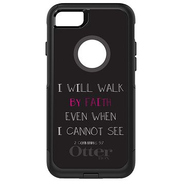 DistinctInk™ OtterBox Commuter Series Case for Apple iPhone or Samsung Galaxy - 2 Corinthians 5:7 - I Will Walk By Faith Even When I Cannot See