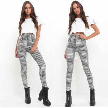 2018 Black White Zip-up Plaid Side Stripe Trousers Sexy High Waist Penicl Pants