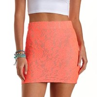 Neon Lace Bodycon Mini Skirt by Charlotte Russe - Pink Combo