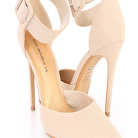 Nude Ankle Strap Single Sole Heels Nubuck