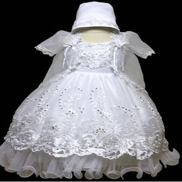 Baby Girl Toddler Christening Baptism Dress Gowns outfit set with bonnet /XS/S/M/L/XL/0-3M/3-6M/6-12M/12-18M/18-24M/XSMALL/SMALL/MEDIUM/LARGE/XL/2t/#5603