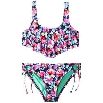 Xhilaration® Junior's 2-Piece Swimsuit -Floral Print