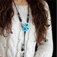 Jewelry classical blue flower long design chain necklace