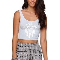 LA Hearts Tribal Cropped Fitted Tank - Womens Tee - Blue -