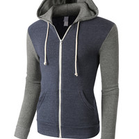 LE3NO PREMIUM Mens Contrast Sleeve Full Zip Up Fleece Hoodie Jacket