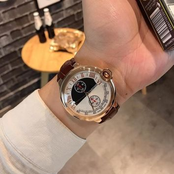 DCCK C017 Cartier Blue balloon simple atmosphere with five needles Leather Watchand Watches Maroon Rose Gold