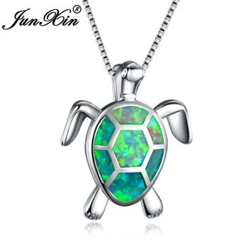 JUNXIN New Fashion Lovely Green Fire Opal Turtle Pendant Necklaces For Women 925 Sterling Silver Filled Animal Wedding Necklace