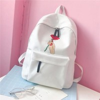 Men Canvas Backpack Fashion Women Rose Embroidery Backpacks for Teenagers Women's Travel Bags Mochilas Rucksack School Bags 533