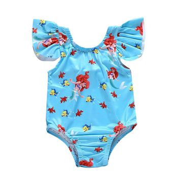 Lovely Cartoon Toddler Kids Baby Girl Sleeveless Ruffle Summer Swimwear Bathing Bikini One Piece Bathsuit Swimsuit Clothes