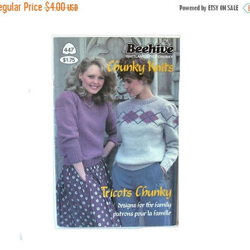 Beehive 447 Shetland Chunky Knits Designs for the Family Knitting Pattern Booklet