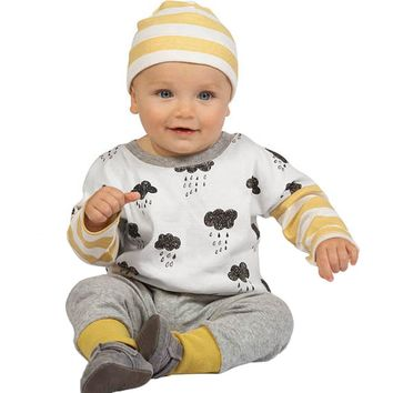 Newborn Rainy Day Clouds & Stripes 2 pc. Outfit