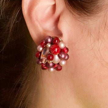 Vintage Red Bead Cluster Clip Earrings
