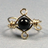 Celtic Knot 14k Gold Filled Ear Cuff Black Onyx or Choice of 56 beads