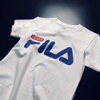 """Fila X Dickies"" Unisex Casual All-match Simple Letter Print Short Sleeve Couple T-shirt Top Tee"