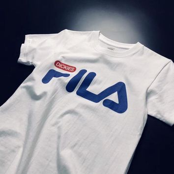 """""""Fila X Dickies"""" Unisex Casual All-match Simple Letter Print Short Sleeve Couple T-shirt Top Tee"""