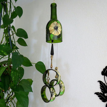 Wine bottle windchime, Amber wind chime, Golden brown and Yellow flowers, yard art, recycled bottle wind chime, hand painted chime