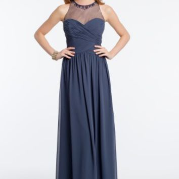 Runched Beaded Illusion Bodice Dress