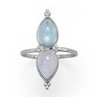 Sterling Silver Pear Shaped Rainbow Moonstone and Blue Topaz Ring