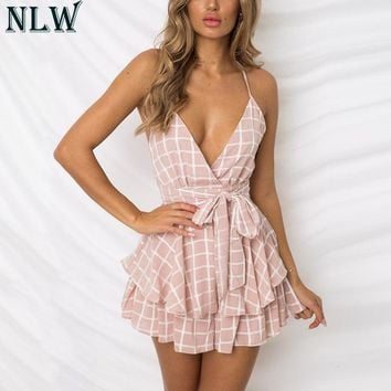 NLW White Ruffle Plaid Jumpsuits Rompers Spaghetti Strap Cross Back Bow Tie Waist Skorts Playsuit Girl Summer Beach Overalls