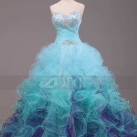 Stunning Multi-Colored Ball Gown Quinceanera Gown Alternative Wedding Gown