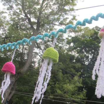 OOAK Crochet Jellyfish Garland Beach Decor. Ocean by LakeShoreHome