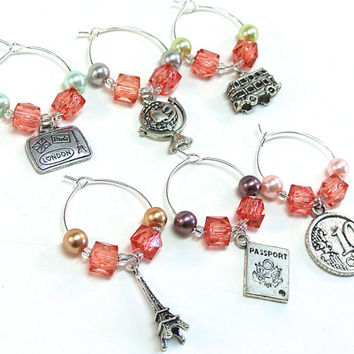 Travel Wine Glass Charms- 6 Travel Wine Charms with Pink Beads, Pastel Pearls, World Traveler, Wine Glass Tags, Wine Glass Accessories