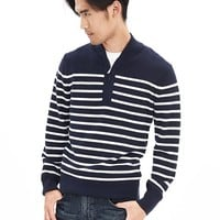 Banana Republic Mens Striped Half Zip Pullover