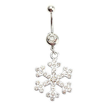 5 pcs 2016 Women's Belly Button Fashion Surgical Steel Rhinestone Dangle Belly Snowflake Navel Piercing Rings