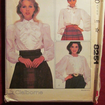 SALE Uncut 1980's McCall's Sewing Pattern, 8251! Size 12 Medium/Women's/Misses Ruffle Blouses/Button up Tops/Shirts/Stand-up Collar/Gathered