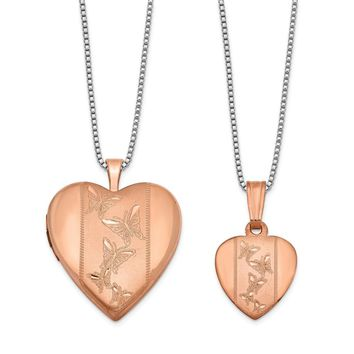 925 Sterling Silver Rose Gold-plated Polished and Satin Butterfly Heart Locket & Pendant Set