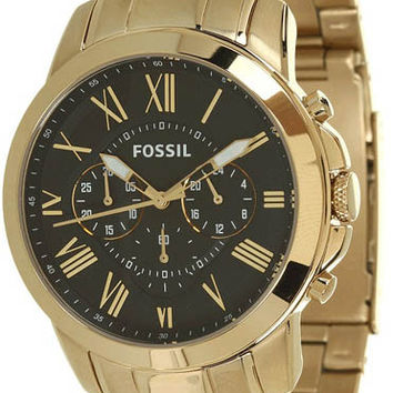 Fossil FS4815 Gold Tone Black Face Mens Watch