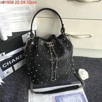 Chanel Drawstring Cc Triple Coco Logo Black 4000 Lambskin Leather Tote (Authentic Pre-owned)