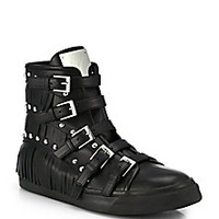 Giuseppe Zanotti - Studded Leather Buckle & Fringe High-Top Sneakers - Saks Fifth Avenue Mobile