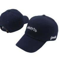 Navy Blue Annoyed Embroidered Embroidered Outdoor Baseball Cap Hats