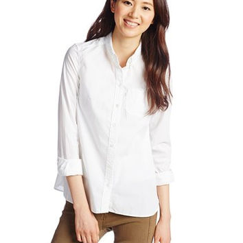 LEVI'S Womens White Relax Round One Pocket Button-down Shirt 13954-0000 Size Small