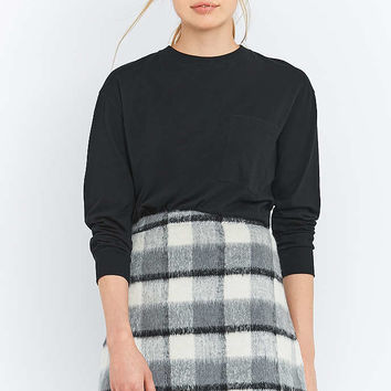 Urban Outfitters Fluffy Checked A-Line Mini Skirt - Urban Outfitters